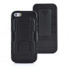 Mobile Phone Plastic Protective Full Body Case w/ Stand for IPHONE 5 / 5S - Black