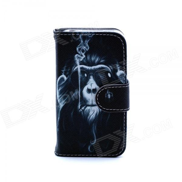 Smoking Monkey Pattern PU Leather Flip Open Case w/ Stand / Card Slots for IPHONE 4 / 4S - Black anchor pattern flip open pu leather case w stand card slots for iphone 5 5s black green
