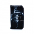 Smoking Monkey Pattern PU Leather Flip Open Case w/ Stand / Card Slots for IPHONE 4 / 4S - Black