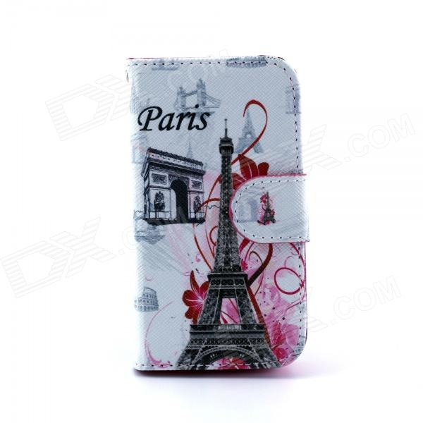 Eiffel Tower Pattern PU Leather Flip Open Case w/ Stand / Card Slots for IPHONE 4 / 4S - Multi-Color eiffel tower pattern protective pu leather flip open case w stand card slots for moto g2