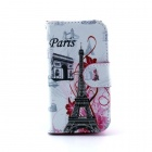 Eiffel Tower Pattern PU Leather Flip Open Case w/ Stand / Card Slots for IPHONE 4 / 4S - Multi-Color
