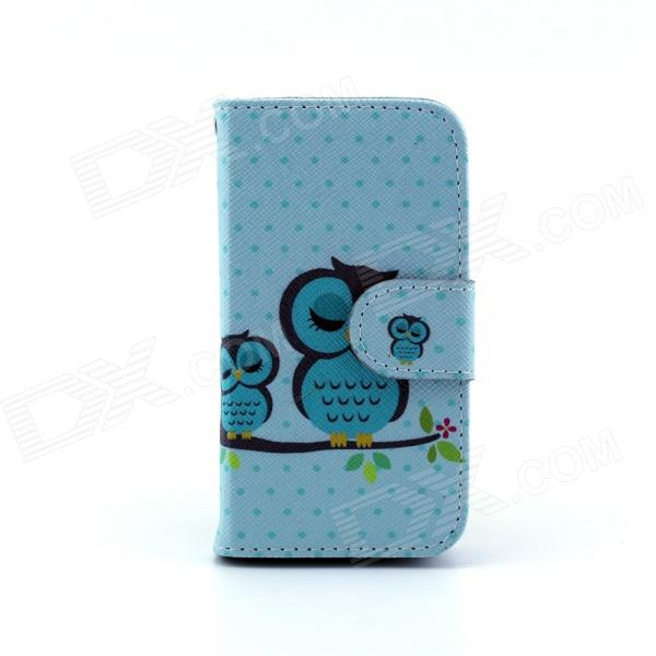 Cute Owl Pattern PU Leather Flip Open Case w/ Stand / Card Slot for IPHONE 4 / 4S - Multi-Color sunshine cute cartoon owl pattern flip open pu case w holder card slot for iphone 4 4s