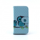 Cute Owl Pattern PU Leather Flip Open Case w/ Stand / Card Slot for IPHONE 4 / 4S - Multi-Color