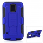Protective PC + Silicone Full Body Case w/ Stand for Samsung Galaxy S5 - Blue + Black