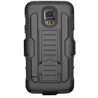 Protective PC + Silicone Full Body Case w/ Stand for Samsung Galaxy S5 / G9006V - Black