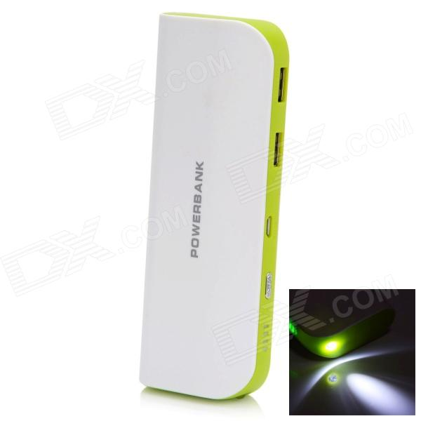 BP 10000mAh High-Quality Mobile Power Bank for IPHONE 5S / Samsung / HTC - White + Green bp 15000mah dual usb mobile power source bank for iphone 5s samsung htc white green