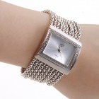 Women's Fashionable Bracelet Style Rhinestone Inlaid Analog Quartz Wristwatch - Silver (1 x 362)