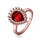 Shiny Red Rhinestone Studded Rose Gold Ring - Rose Golden + Red (Size 8)