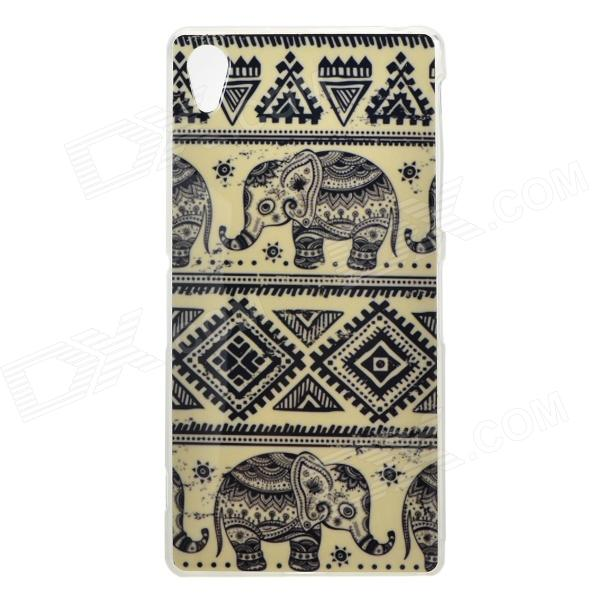Protective Elephant Patterned TPU Back Case Cover for Sony Xperia Z2 / D6503 - Black + Beige 2 in 1 protective tpu pc back case for sony xperia z2 l50w white