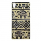 Protective Elephant Patterned TPU Back Case Cover for Sony Xperia Z2 / D6503 - Black + Beige