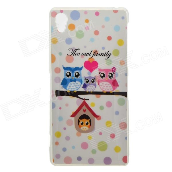 Protective Owl Patterned TPU Back Case Cover for Sony Xperia Z2 / D6503 - White + Multi-colored 2 in 1 protective tpu pc back case for sony xperia z2 l50w white