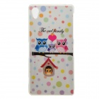 Protective Owl Patterned TPU Back Case Cover for Sony Xperia Z2 / D6503 - White + Multi-colored