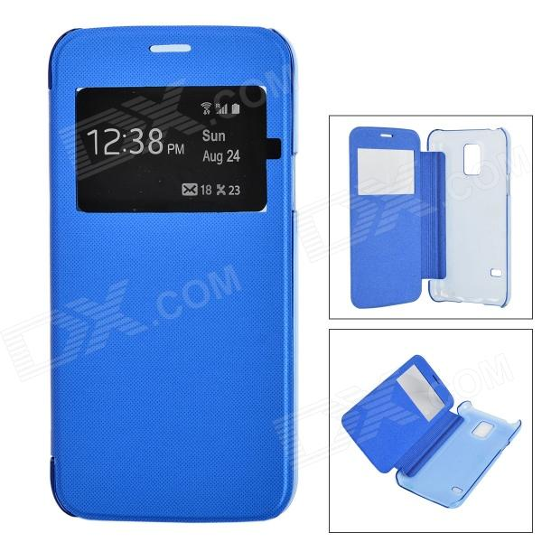 ABS protetora + Case PU w ​​/ Auto-Sleep / Window para Samsung S5 Mini G800 - Deep Blue