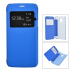 Protective ABS + PU Case w/ Auto-Sleep / Window for Samsung S5 Mini G800 - Deep Blue