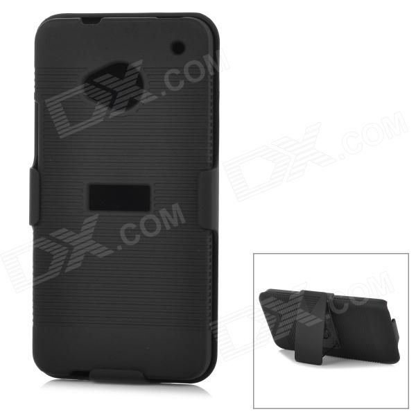 DULISIMAI Protective 2-in-1 Plastic Back Case w/ Holder for HTC M7 - Black 3200mah backup battery case w holder for htc one m7 801e black