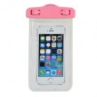 Universal Waterproof Couple Pattern PVC Case w/ Strap for IPHONE / IPOD + More - White + Pink