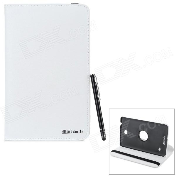 Caso ABS Protective Rotary PU + w / Stylus Pen para Samsung Galaxy Tab 8.0 4 T330 / T331 / T33 - Branco