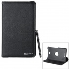 Protective Rotary PU + ABS Case w/ Stylus Pen for Samsung Galaxy Tab 4 8.0 T330 / T331 / T33 - Black