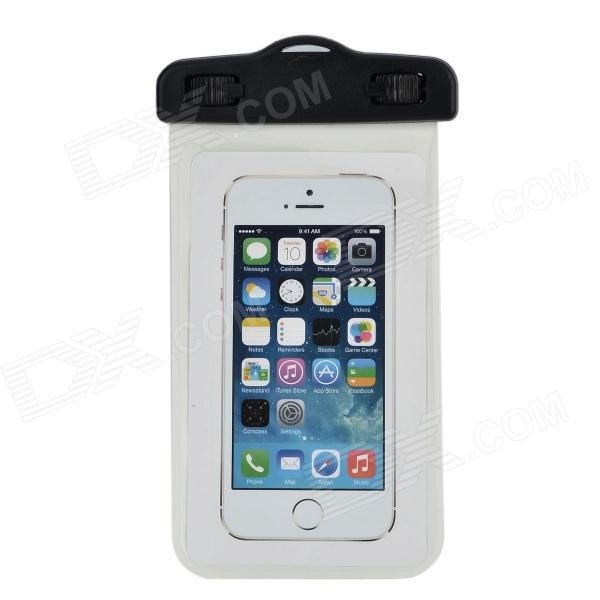 Universal Waterproof Dog Pattern PVC Case w/ Strap for IPHONE / IPOD + More - White + Black