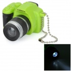 Camera Style  LED White Flashlight Keychain w/ Sound - Green + Black (3 x AG10)