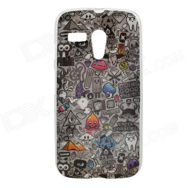 Find Something Pattern Protective TPU Case for MOTO G - Black + Grey cute cartoon pattern tpu back case for htc one mini m4 601e black grey