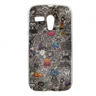 Find Something Pattern Protective TPU Case for MOTO G - Black + Grey