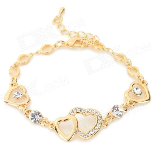 XXSL022 Heart Style Zinc Alloy + Rhinestones Bracelet for Women - Golden fashion talons style zinc alloy bracelet golden