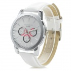 Zhongyi 808 Fashion Zinc Alloy PU Band Quartz Analog Wrist Watch for Men - White+ Silver (1 x 626)