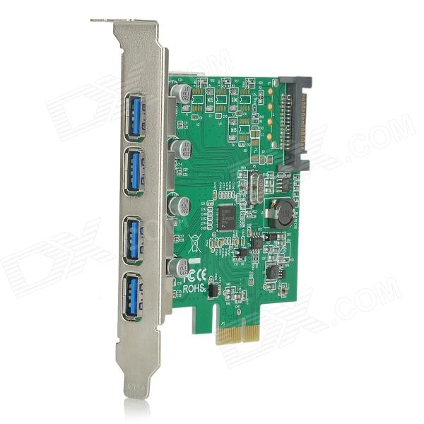 PCI-E 4-Port 5Gbps USB 3.0 Adapter Expansion Card - Green + Black 5 port usb 2 0 pci expansion card