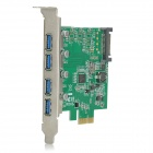 PCI-E 4-Port 5Gbps USB 3.0 Adapter Expansion Card - Green + Black
