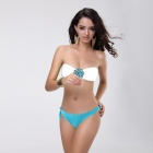 T127 Women's Sexy Diamonte Ornament Nylon + Lycra + Spandex Bikini Swimwear - White + Light Blue (M)