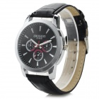 Zhongyi 808 PU Band Quartz Analog Wrist Watch for Men - Black + Silver