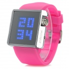 Shifenmei 295 Square Zinc Alloy Case Silicone Band LED Digital Wrist Watch for Women - Deep Pink