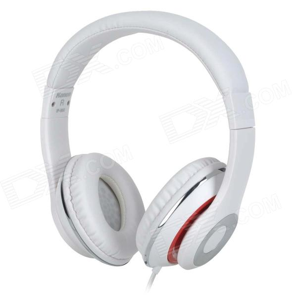 Kanen ip-980 3.5mm Headband Headphone w/ Microphone - White + Red kanen ip 850 foldable headset headphone w microphone pink silver 3 5mm plug 153cm cable