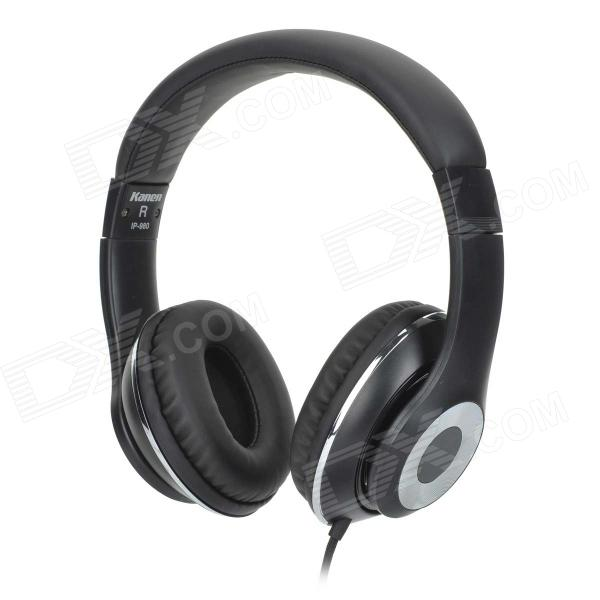 Kanen ip-980 3.5mm Headband Headphone w/ Microphone - Black + Silver kanen i20 black