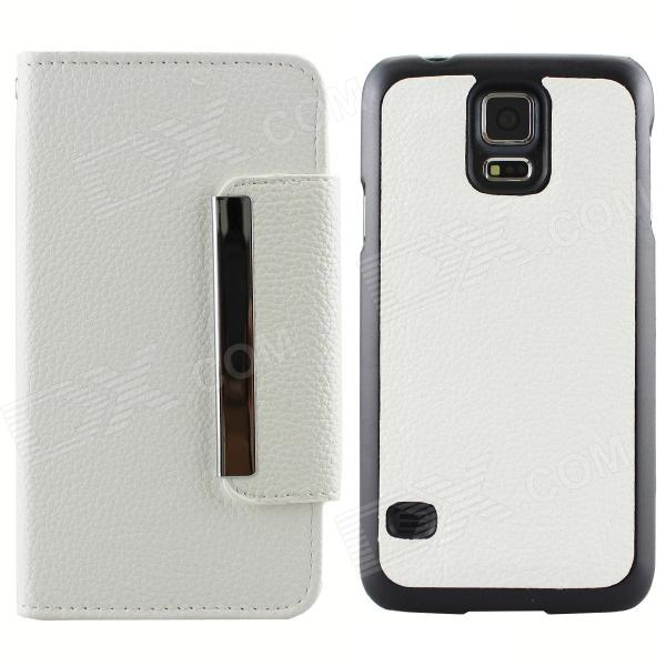 Magnetic Style PU Leather + PC Flip Open Case w/ Card Slots for Samsung Galaxy S5 - White miniisw c 3 pu leather flip open case w display window for samsung galaxy s5 off white black