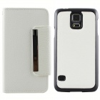 Magnetic Style PU Leather + PC Flip Open Case w/ Card Slots for Samsung Galaxy S5 - White