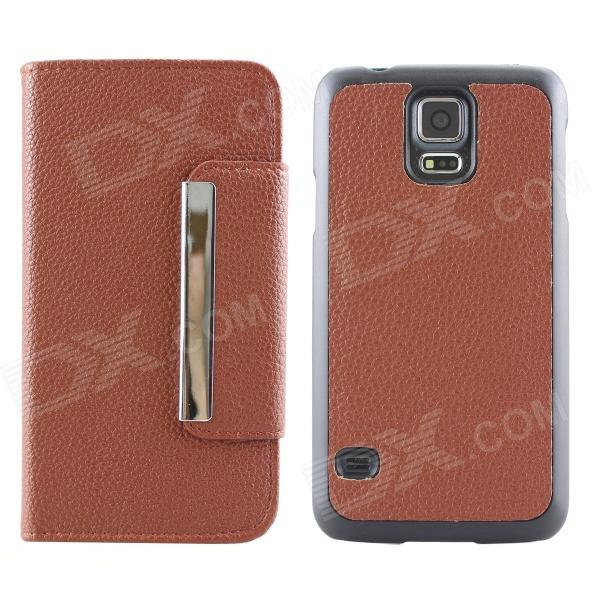 Magnetic Style PU Leather + PC Flip Open Case w/ Card Slots for Samsung Galaxy S5 - Coffee leopard print flip open pu leather case w stand for samsung galaxy s5 khaki brown multi color
