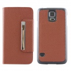 Magnetic Style PU Leather + PC Flip Open Case w/ Card Slots for Samsung Galaxy S5 - Coffee