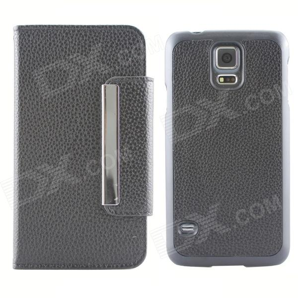 Protective PU Leather Flip-open Case w/ Card Slot For Samsung Galaxy S5 - Black protective flip open pc pu leather case w holder card slot for iphone 5 5s black