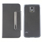 Protective PU Leather Flip-open Case w/ Card Slot For Samsung Galaxy S5 - Black