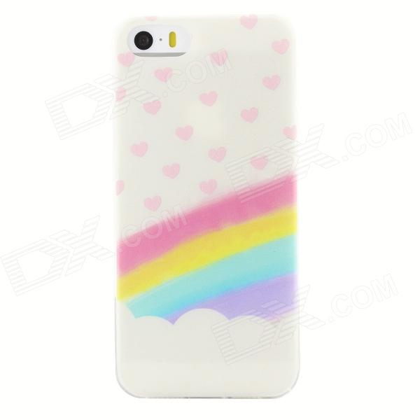Rainbow Heart Style Ultra Thin Back Case Cover for IPHONE 5 / 5S ultra thin embossed flower pattern protective tpu back case for iphone 5 5s white light pink