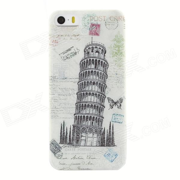 Leaning Tower of Pisa Style Protective TPU Back Case for IPHONE 5 / 5S - White + Grey + Multi-Color cool graffiti style protective tpu back case for iphone 5 5s white black