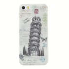 Leaning Tower of Pisa Style Protective TPU Back Case for IPHONE 5 / 5S - White + Grey + Multi-Color