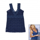Fashion Sexy V-Neck Hollow Out Lace Vest Tops for Women - Dark Blue (Size M)