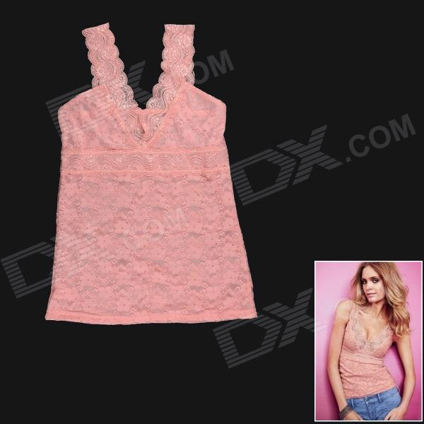 Fashion Sexy V-Neck Hollow Out Lace Vest Tops for Women - Pink (L)