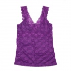 Fashion Sexy V-Neck Hollow Out Lace Vest Tops for Women - Purple (L)