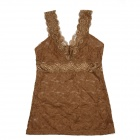 Fashion Sexy V-Neck Hollow Out Lace Vest Tops for Women - Dark Khaki (L)