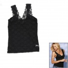 Fashion Sexy V-Neck Hollow Out Lace Vest Tops for Women - Black (L)
