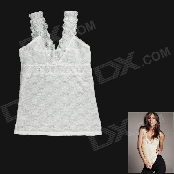 Fashion Sexy V-Neck Hollow Out Lace Vest Tops for Women - White (L)